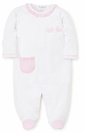 Kissy Kissy Baby Girls White Pique Bunny Hop Footie - Pink Gingham Pocket