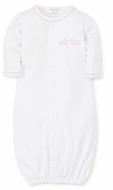 Kissy Kissy Baby Girls White Pique Bunny Hop Gown - Pink Gingham Bunnies