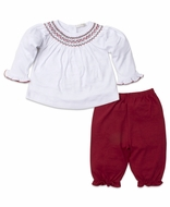 Kissy Kissy Baby Girls White / Red Smocked Holiday Pant Set