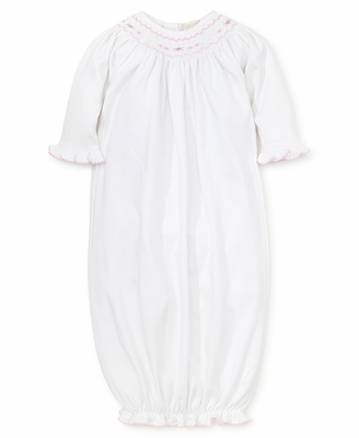Kissy Kissy Baby Girls White Sack Gown - Smocked in Pink