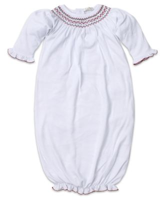 Kissy Kissy Baby Girls White Smocked Holiday Sack Gown
