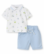 Kissy Kissy Baby / Toddler Boys Blue Shorts with Daddy's Golf Caddy Shirt