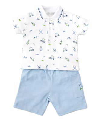 Kissy Kissy Baby / Toddler Boys Blue Double Bogey Golf Print Polo Shirt with Shorts