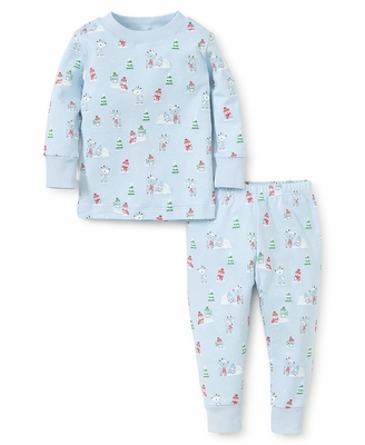 Kissy Kissy Boys Snow Day Snowman Print Pajamas - Blue