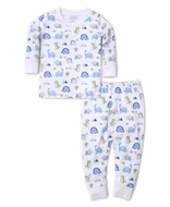 Kissy Kissy Boys Blue Dino Crew Snug Fit Long Pajamas