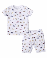 Kissy Kissy Boys Blue Stripe Baseball Park Print Short Pajamas