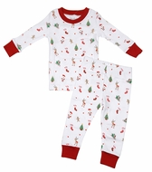 Kissy Kissy Boys 'Tis the Season Red Christmas Holiday Print Pajamas