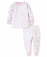 Kissy Kissy Girls Pink Snow Flower Snowflake Print Pajamas