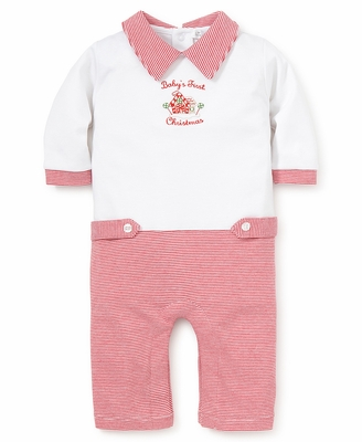 Kissy Kissy Infant Boys Red Baby's First Christmas Romper with Collar