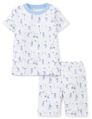 Kissy Kissy Little Boys Blue First Golf Tee Print Pajamas