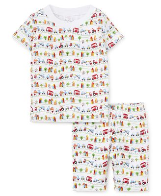 Kissy Kissy Little Boys Primary Colors Cars & Traffic Print Short Pajamas