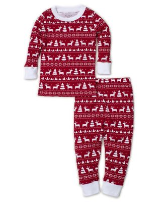 Kissy Kissy Little Boys Red / White Christmas Reindeer Long Pajamas