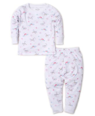 Kissy Kissy Little Girls Pink Rainbow Unicorns Long Pajamas