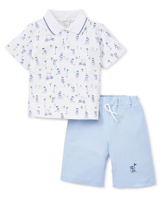 Kissy Kissy Toddler Boys Blue First Golf Tee Shorts with Polo Shirt