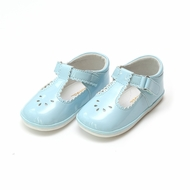 L'Amour Angel Baby / Toddler Girls Dottie Perforated Scallop Mary Janes Shoes - Patent Sky Blue
