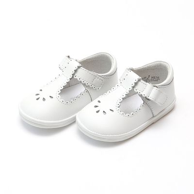 L'Amour Angel Baby / Toddler Girls Dottie Perforated Scallop Mary Janes Shoes - White