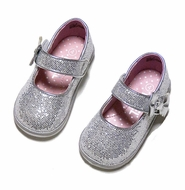L'Amour Angel Baby / Toddler Girls Glitter Mary Janes Shoes with Bow - Silver