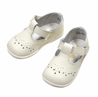 L'Amour Angel Baby / Toddler Girls Leather T-Strap Shoes - Ecru