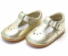 L'Amour Angel Baby / Toddler Girls Perforated Dottie Scallop Mary Janes Shoes - Gold