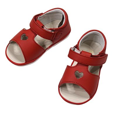 L'Amour Angel Baby / Toddler Girls Shoes - Betsy Open Heart Sandals - Red