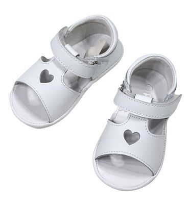 L'Amour Angel Baby / Toddler Girls Shoes - Betsy Open Heart Sandals - White
