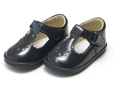 L'Amour Angel Baby / Toddler Girls Shoes - Dottie Scallop Mary Janes - Patent Navy Blue
