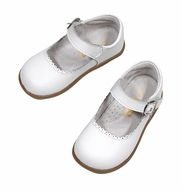 L'Amour Angel Girls Chloe Scallop Mary Janes Shoes - White
