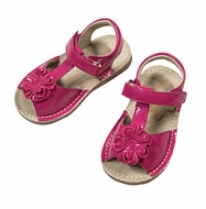 L'Amour Angel Girls Shoes - T-Strap Flower Sandals - Patent Hot Pink Fuchsia