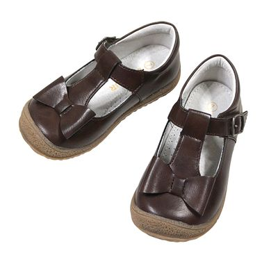 L'Amour Angel Girls Shoes - T-Strap with Bow - Dark Brown