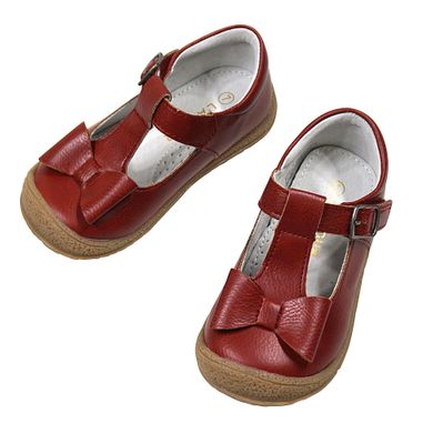 L'Amour Angel Girls Shoes - T-Strap with Bow - Red