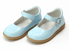 L'Amour Girls Chloe Classic Scallop Mary Janes Shoes - Patent Sky Blue