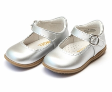 L'Amour Girls Chloe Classic Scallop Mary Janes Shoes - Silver