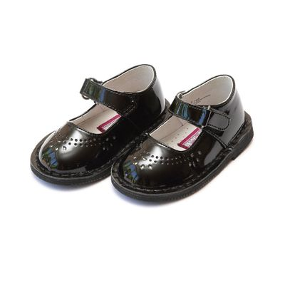 L'Amour Girls Classic Perforated Mary Janes Shoes - Patent Black