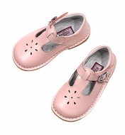 L'Amour Girls Joy Leather T-Strap Mary Jane Shoes - Pink
