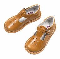 L'Amour Girls Joy Leather T-Strap Mary Janes Shoes - Spicy Mustard