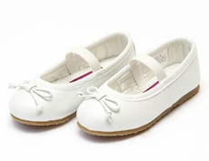 L'Amour Girls Leather Ballerina Ballet Slippers Shoes - Pearlized White