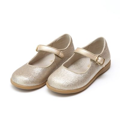 L'Amour Girls Marilla Glitter Mary Janes Flat Shoes - Glitter Champagne
