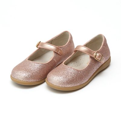 L'Amour Girls Marilla Glitter Mary Janes Flat Shoes - Glitter Rose Gold