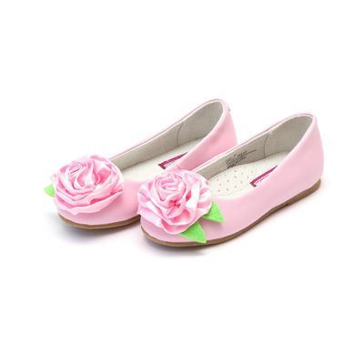 L'Amour Girls Rosa Leather Ballet Flat - Satin Rose Accent - Pink