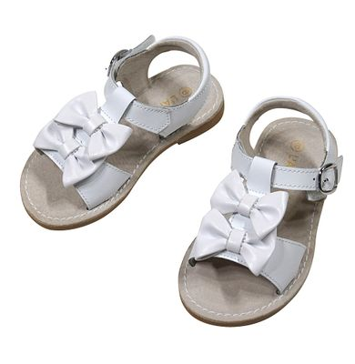 L'Amour Girls Shoes - Serena Double Bow Sandals - White