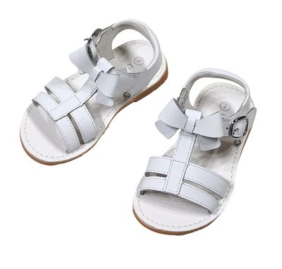 L'Amour Girls Shoes - Strap Sandals with Bow - White