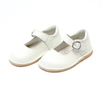 L'Amour Girls Stitch Down Mary Janes Shoes - White