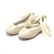 L'Amour Girls Sylvie Leather Ballet Flat Shoes with Satin Lace Up Ribbons - Patent Cream