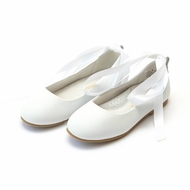 L'Amour Girls Sylvie Leather Ballet Flat Shoes with Satin Lace Up Ribbons - White