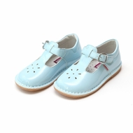 L'Amour Girls T-Strap Mary Janes Shoes - Patent Sky Blue