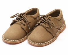 L'Amour Little Boys Dress Shoes - Khaki Tan Nubuck Suede Leather Oxfords