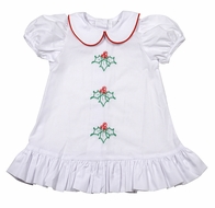 LaJenn's Mary Mary Baby / Toddler Girls White Christmas Holly Dress