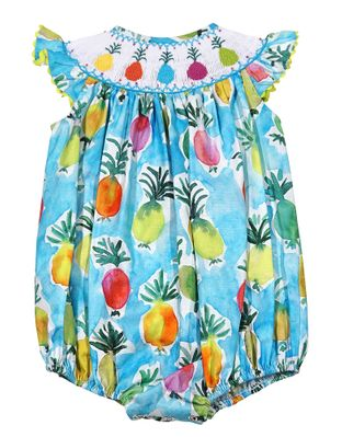 Le Za Me Baby Girls Colorful Pineapples Print Smocked Bubble