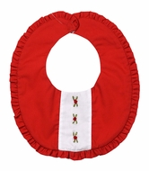 Le Za Me Baby Girls Embroidered Red Ruffle Christmas Bib