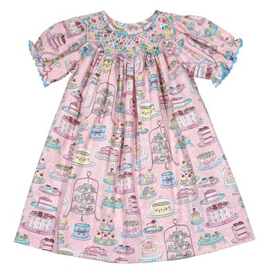 Le Za Me Baby Girls Pink Birthday Cake Print Smocked Bishop Dress